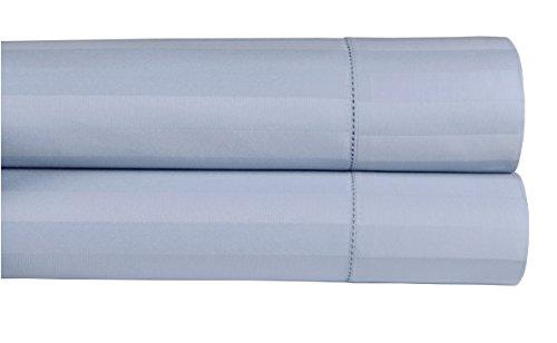 Damask Pillowcase (Threadmill Home Linen 500 Thread Count Damask Stripe 100% ELS Cotton Standard Pillowcases, Set of 2 Standard Pillowcases, Luxury Bedding, Smooth Sateen Weave, Standard Size, Blue)
