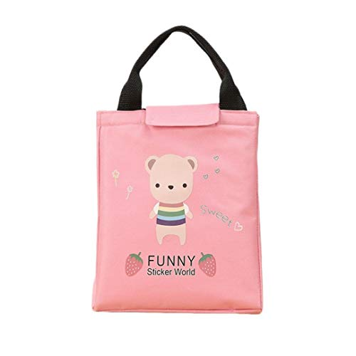 Pausseo Panda Bear Portable Thermal Insulated Lunch Box Basket Tote Insulated Cold Canvas Stripe Picnic Carry Case Students Kids Food Storage Bag Pouch Container for Work School Packet (Pink) ()