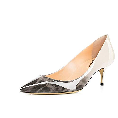 (Maguidern Women's Grey Leopard Print Patent Leather Pointed Toe 2 1/2 inches Mid-Heels Working Pumps Evening Party Stiletto Shoes Size 9 M US)