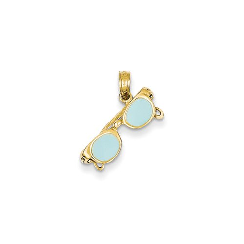 3-D Aqua Enameled Moveable Sunglasses Pendant In 14 Karat Yellow Gold
