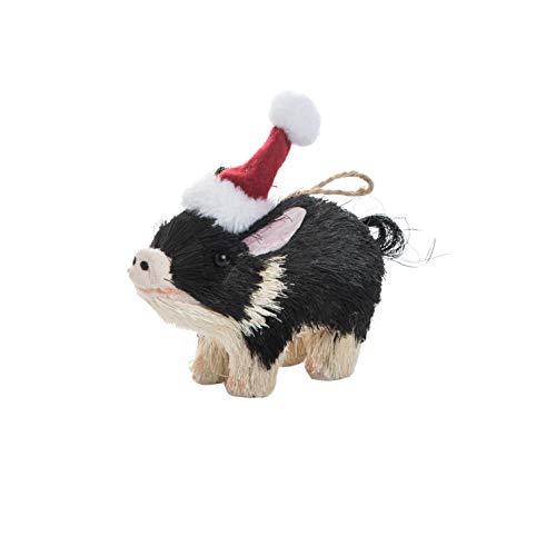 (Transpac Imports D0057 Sisal Pig Ornament White)