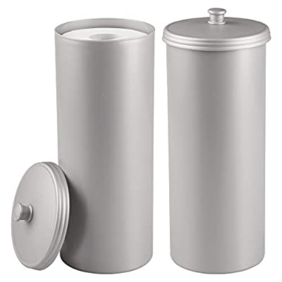 mDesign Plastic Free Standing Toilet Paper Holder Canister - Storage for 3 Extra Rolls of Toilet Tissue - for Bathroom/Powder Room - Holds Mega Rolls