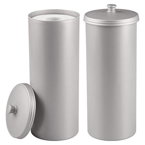 mDesign Plastic Free Standing Toilet Paper Holder Canister with Storage for 3 Extra Rolls of Toilet Tissue - for Bathroom/Powder Room - Holds Mega Rolls, 2 Pack - Silver