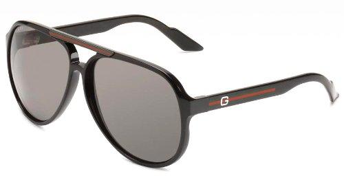 Gucci Mens 1627S Aviator SunglassesShiny Black FrameGrey LensOne Size