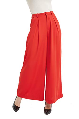Vintage Trousers - Tronjori Women High Waist Casual Wide Leg Long Palazzo Pants Trousers(L, Fiery Red)