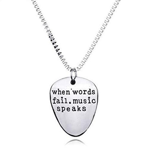 (DOZOGU 1 Pcs Unisex Stainless Steel Letters Pendant Necklace When Words Fail Music Speaks Guitar Pick Pendants Necklaces for Women Men Couple)