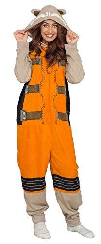 Superheroes Onesies For Adults (Marvel Women's Rocket Raccoon cos Play 1 Piece Pajama Union Suit, Khaki,)
