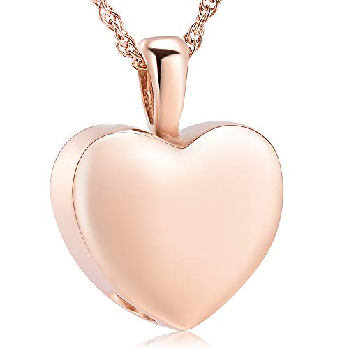 shajwo Cremation Jewelry for Ashes Holder - Heart Locket Pendant Necklace Jewelry - Keepsake Funeral Urns Memorial Gift for Women/Men, Free 20 Inch Chain+Fill ()