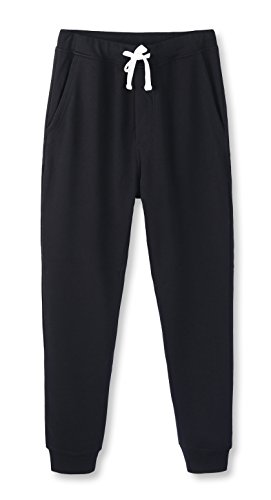 HETHCODE Mens Classic Fit Basic Fleece Closed-Bottom Pocketed Joggers Sweatpants Black XS (Mens Xs Sweatpants)