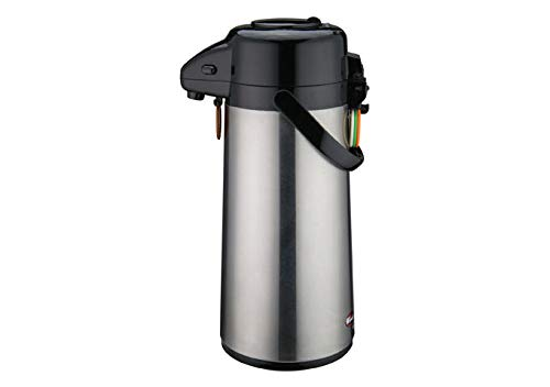 (Winco AP-819, 1.9L Glass Lined Airpot With Lever Top, Stainless Steel Thermos, Vacuum Flask)