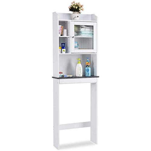 - Giantex Over-The-Toilet Space Saver Collette Bathroom Spacesaver with Storage Rack Cabinet, White & Black (1 Door w/Multi Shelves)