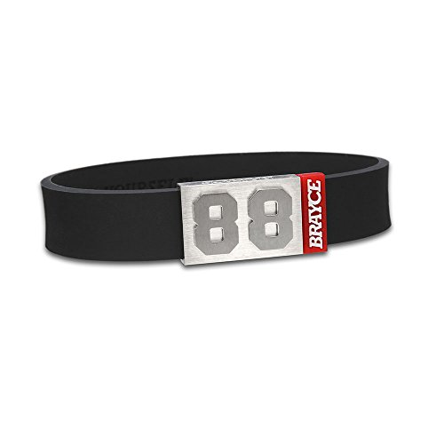 "fan products of BRAYCE Team Colors: Customize your jersey bracelet black with your player number (0-99) 7 sizes (6,3"" – 8,7""): Hockey, Baseball, Basketball & Football"