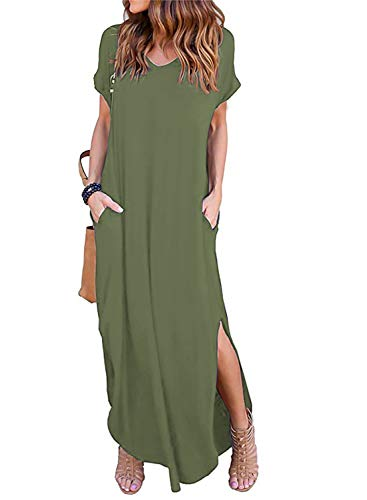 Womens Casual V Neck Side Split Beach Long Maxi Dress Army Green M from Arolina