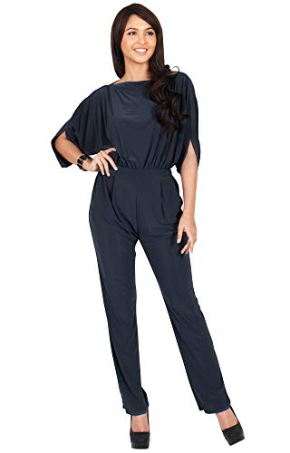 - KOH KOH Petite Womens Short Sleeve Sexy Formal Cocktail Casual Cute Long Pants One Piece Fall Pockets Dressy Jumpsuit Romper Long Leg Pant Suit Suits Outfit Playsuit, Slate Gray Grey S 4-6