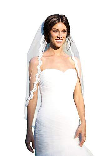 MisShow Women's Ivory 1 Tier Elegent Lace Appliques Wedding Veil With Comb