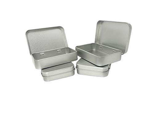 4 Pack Silver Small Tins Metal Container Storage Kit for Ribbon Cards Collections Container Empty - Kit Ribbon Card