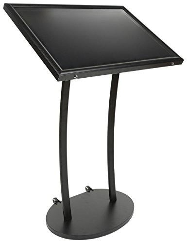 Displays2go Magnetic Menu Display Stand, Includes Magnets, Wheels, Outdoor, Black (ODMAG839BK)