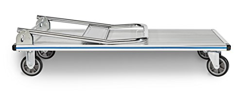 AdirOffice Folding Aluminum Platform Truck - Flatbed Cart - Single Handle - 5'' Non-Marking Polyurethane Casters - 600 lbs Capacity - 48'' x 24'' by AdirOffice (Image #2)