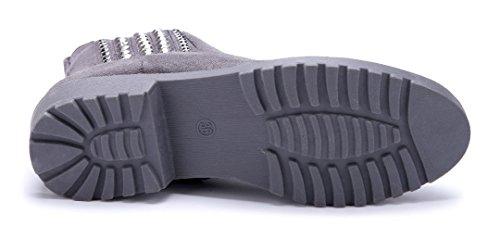 Schuhtempel24 Damen Schuhe Klassische Stiefeletten Stiefel Boots Blockabsatz Ziersteine 3 cm Grau