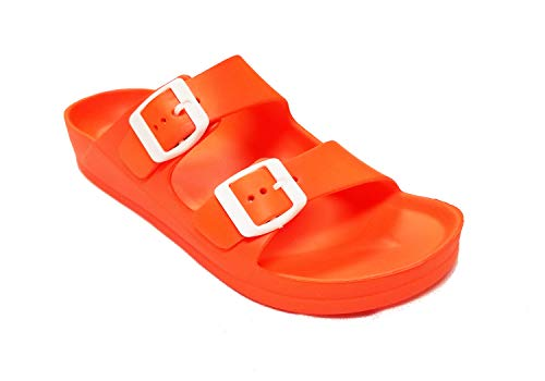 (H2K Womens Comfort Slides Adjustable Double Buckle EVA Flat Slide Sandals (Neon Orange,)