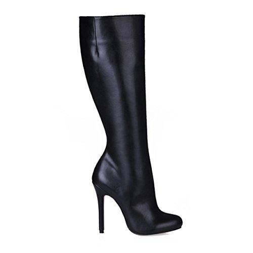 Best 4U® Stivali da donna Suola in gomma Punta tonda 12CM Tacco alto al ginocchio Comodi stivali Premium PU Stivali invernali