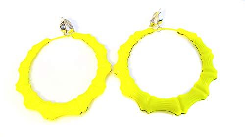 Clip-on Earrings Neon Yellow Bamboo Hoop Earrings 3.5 inch