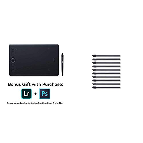 Wacom Intuos Pro Digital Graphic Drawing Tablet for Mac or PC, Medium, (PTH660) New Model Bundle with Wacom Standard Nibs for Digital Pro Pen 2 (10 Pack) (ACK22211)