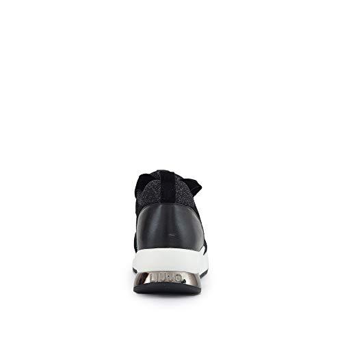 Zapatos de Negro Negro Baja 06 Zapatillas Karlie LIU TX004 UP JO Plata Encaje B68005 Mujer BE7x656q