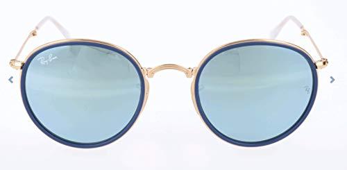 Ray-Ban RB3517 Round Folding Metal Sunglasses, Shiny Gold/Silver Flash, 51 ()