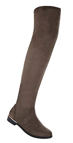 Damen Schuhe Stiefel Overknee Olive