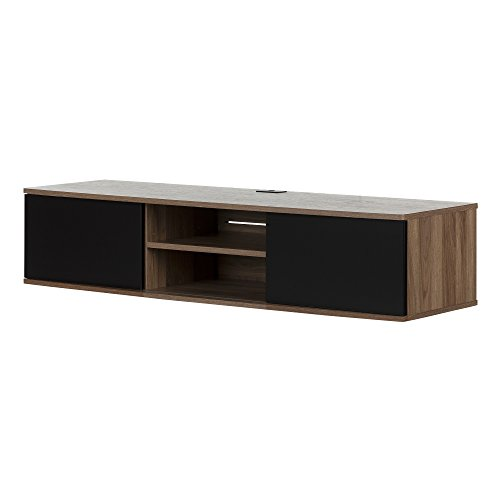 South Shore 11506 Agora Wall Mounted Media Console, Natural Walnut and Matte Black