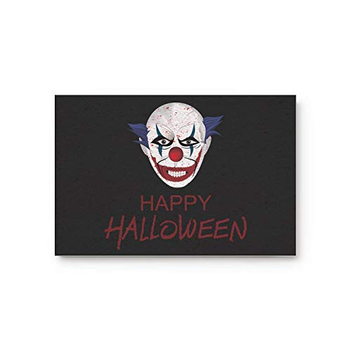 (MOAIER Halloween Theme Clown Pattern 23.6 x 15.7inch Doormat Water Absorbent Non-Slip Entrance Shoes Scraper Rug Indoor Kitchen Dining Living Hallway Bathroom Pet Mats)