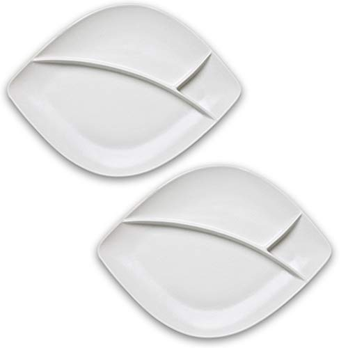 Dinnerware Set of 2 Large Divided Porcelain Steak Plates For Fries & Sauce, Stoneware Grey & White Colors