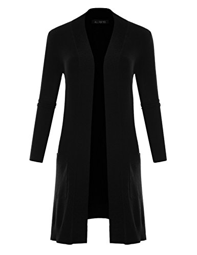 Black Duster Jacket - ALL FOR YOU Women's V-Neck Long Duster Cardigan Cardigan Sweater Black Medium