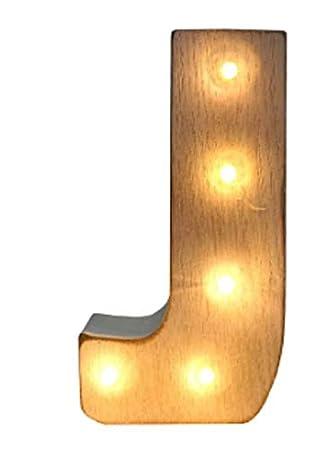 Amazon.com: Letras luminosas LED de madera blanqueada para ...