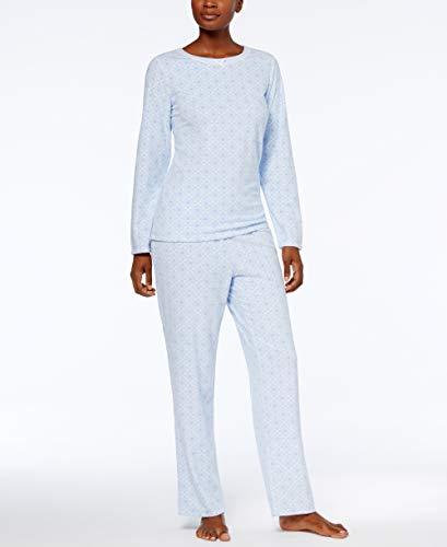 Charter Club Womens 2-Piece Thermal Fleece Long Sleeve Pajama Set (Frosty Geo, ()