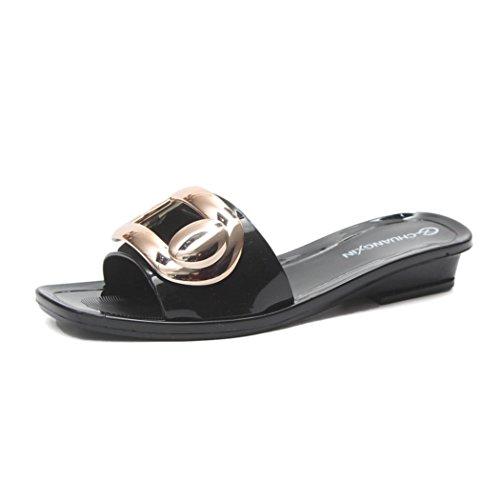 IGEMY Frauen Indoor Outdoor Sandalen, quadratische Schnalle wasserdichte Sommer Slipper Schuhe Schwarz