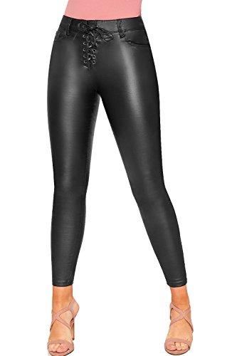 Regardez WearAll 34 42 en Noir Femmes Haut PU Pantalon Faux Dames Jeans Dentelle Jambe Cravate Cuir Biker Maigre Iqq1wx