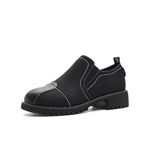 Ladies Fashion round head with Mark Line casual combat color small leather shoes female Harajuku wind Black WwEmP