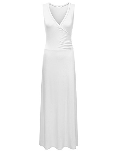 LA BASIC Women's Sleeveless Wrap Bodice Maxi Dress IVORY 1XL