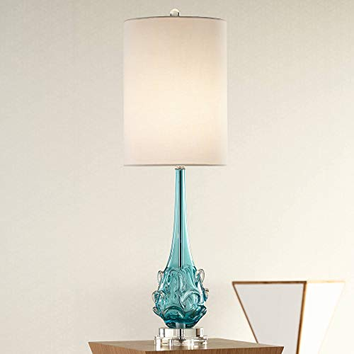 Dinah Coastal Table Lamp Clear Teal Blue Glass Swirl Off White Tall Drum Shade for Living Room Family Bedroom - Possini Euro Design