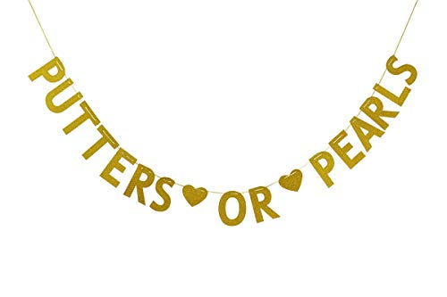 Putters or Pearls Banner, Golf Gender Reveal, He or She Bunting, Boy or Girl Party Decorations Gold Glitter