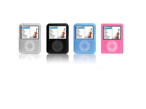 [iShoppingdeals - (Black / White / Blue / Pink) Silicone Skin Case for Apple iPod Nano 3rd Generation 4GB/8GB + Screen Protector + Fishbone Style Keychain] (Ipod Nano 8 Gb Pink)