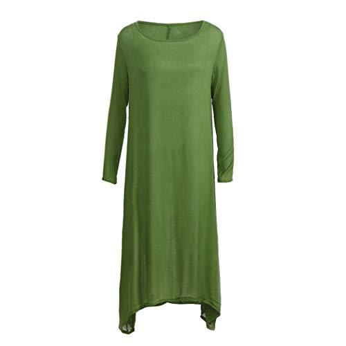 Sólido Mujer Boho Manga para Mujer Suelto Casual Elegante Mujer Holgado de Verde Vestido JYC Vestido Casual Largo Vestido Vestir Vestido Otoño Larga Invierno Tripulación Cuello vq1xHE
