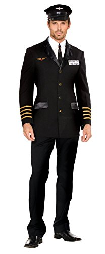 Dreamgirl Men's Mile High Pilot Hugh Jordan Costume, Black, X-Large