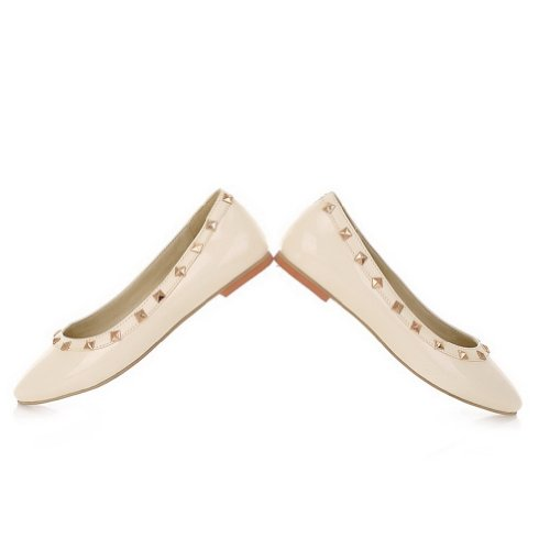 Closed Toe US M B WeenFashion Solid Leather 8 Flats Rivet Beige whith 5 Round Patent Women's PU 5tw1BwqcA