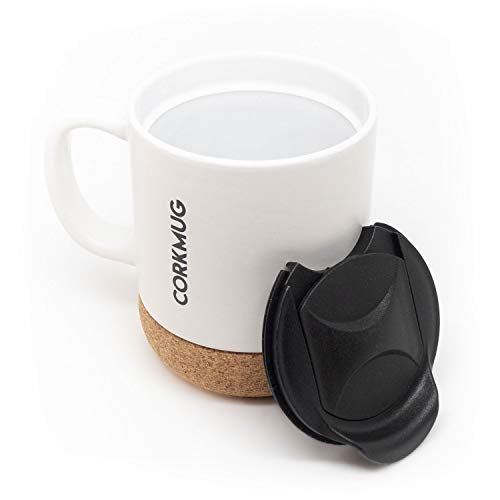 Ceramic Mug with Built-in Cork Coaster and Splash-free Lid and Handle for Cup of Coffee and Tea, Personalize with Chalk (White) ()