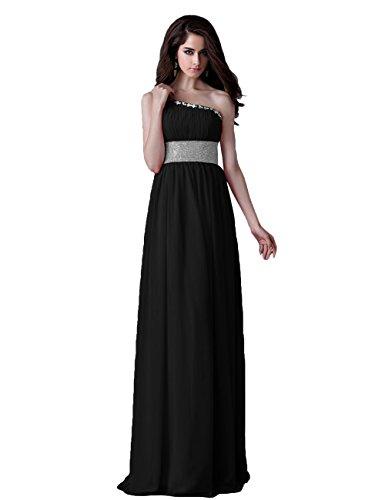 Tidetell's Elegant Empire Bridesmaid One-shoulder Long Chiffon Evening Prom Dresses Black Size 16