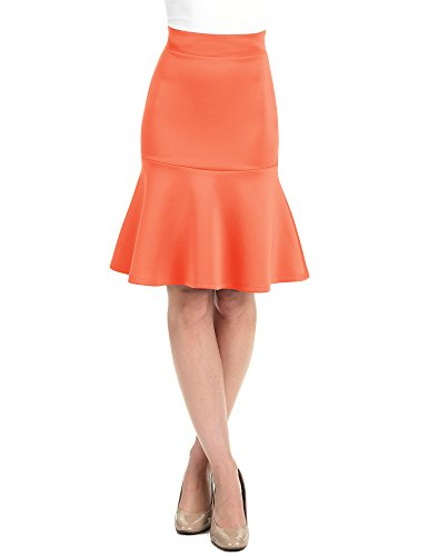 Lock and Love LL WB1471 Womens High Waist Bodycon Fishtail Midi Skirt L - Suit Skirt Coral