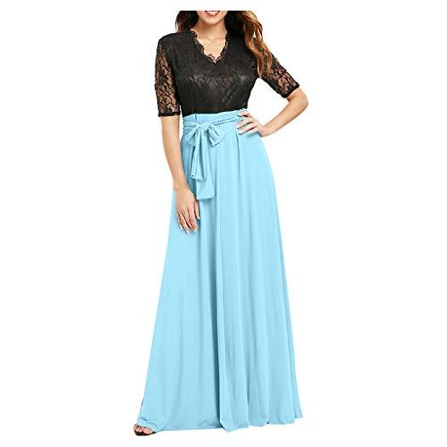 RAINED Women Patchwork lace Dress Half Sleeve V Neck Loose Fashion Elastic Waist Dress Casual Long Dresses Sky ()